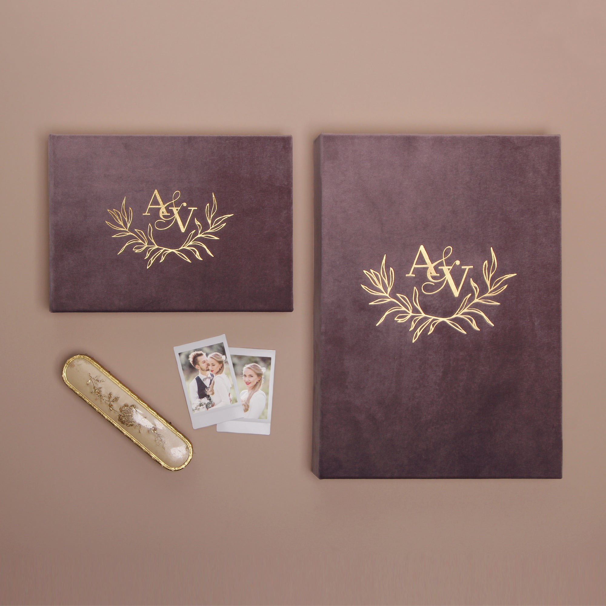 Dusty Plum Velour Instax Photo Guestbook Initials Wreath Gold Lettering, Personalized Wedding Album, Alternative Guestbook - by Liumy - Liumy