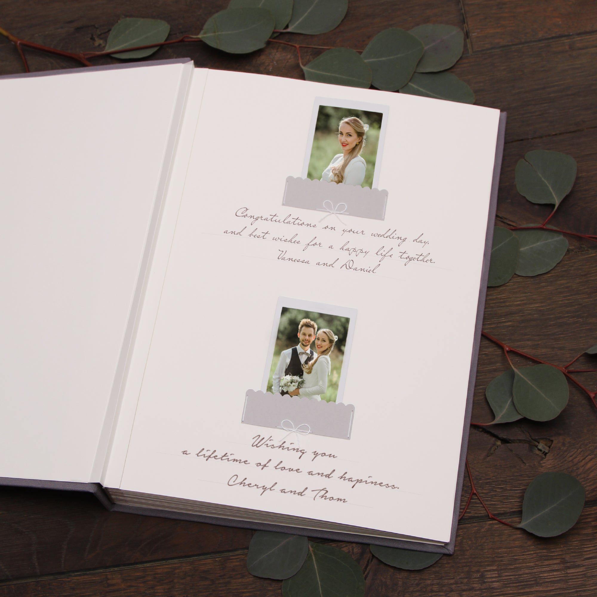 Classic Gray Wedding Guest Book With Real Gold Lettering, Instax picture album, Birthday Album - by Liumy - Liumy