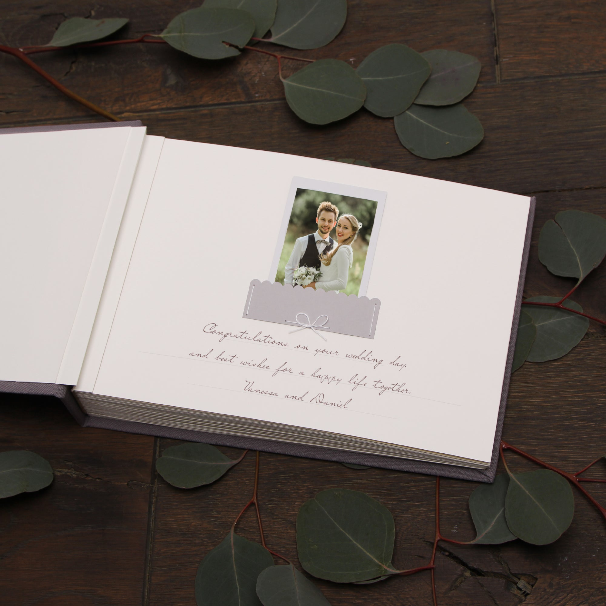 Classic Gray Wedding Guest Book With Gold Lettering, Instax picture album, Birthday Album - by Liumy - Liumy