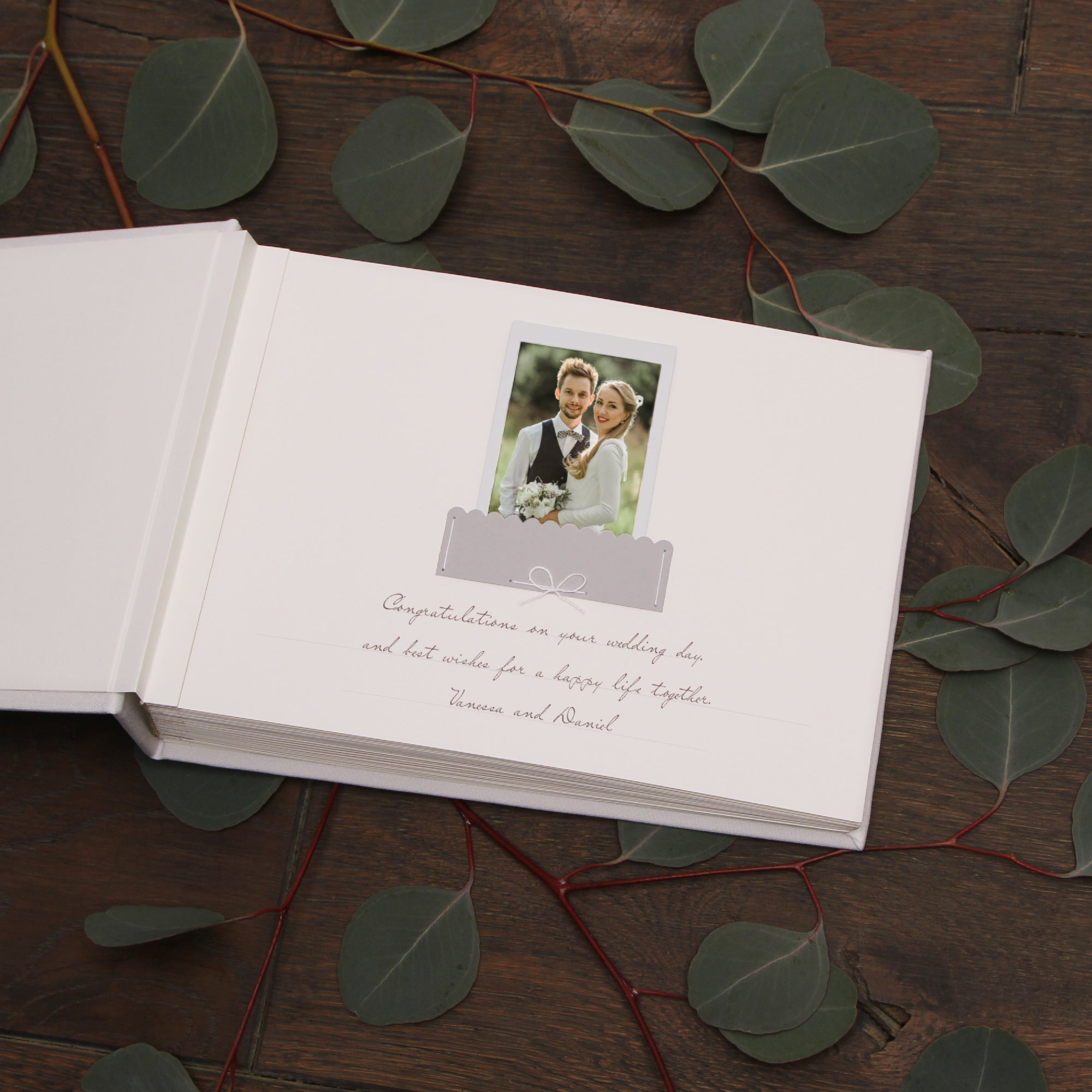 Classic Wedding Guest Book White With Silver Lettering, Instax picture album, Birthday Album - by Liumy - Liumy