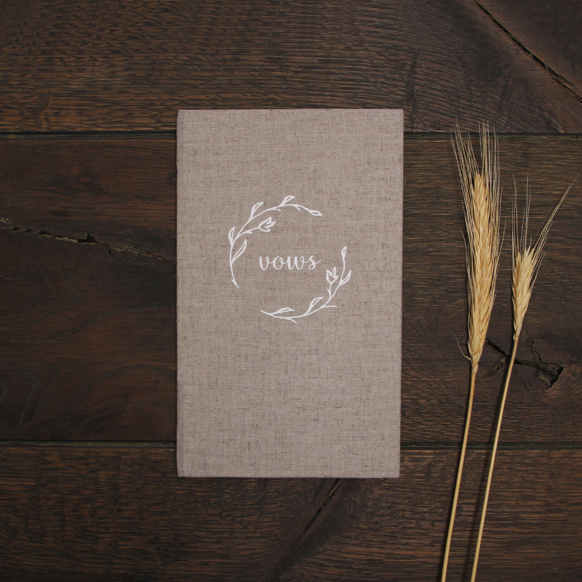 Wedd Vow Books White Velour Rustic Wreath Keepsake Calligraphy Vows Bride and Groom Ceremony - Liumy
