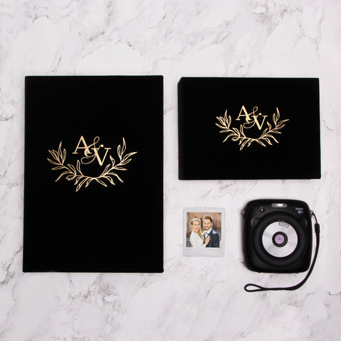 Black Velour Instax Photo Guestbook Initials Wreath Gold Lettering, Personalized Wedding Album, Alternative Guestbook - by Liumy - Liumy