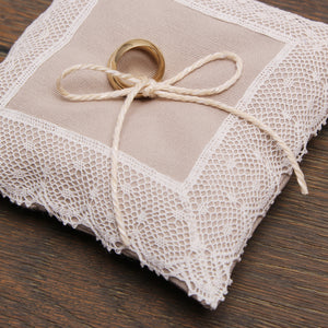"Ring pillow ""Rustic light lace"", Wedding ring pillow - Liumy"