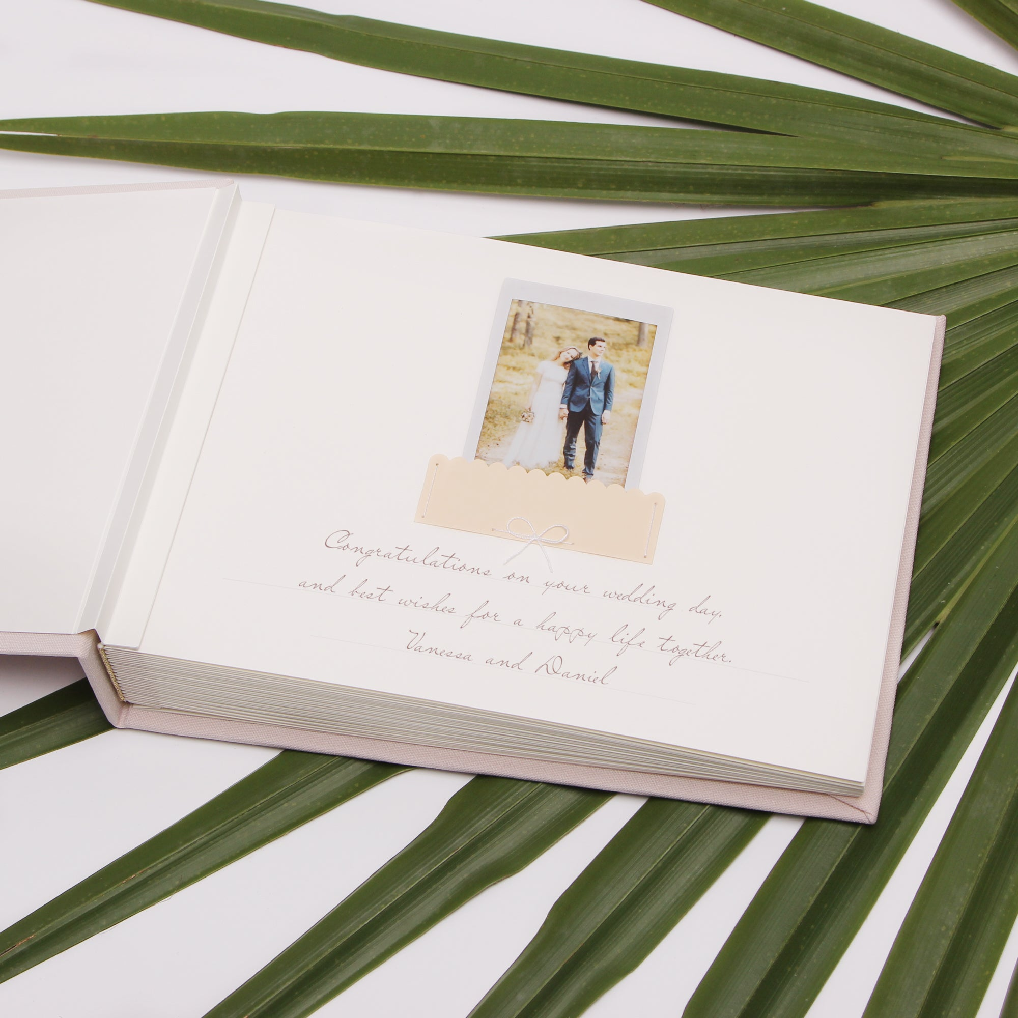 Cream Instax Photo Guestbook, Real Gold Lettering Calligraphy, Personalised Wedding Album, Wedding book - by Liumy - Liumy