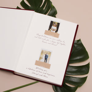 Classic Marsala Wedding Guest Book With Real Gold Lettering, Instax picture album, Birthday Album - by Liumy - Liumy