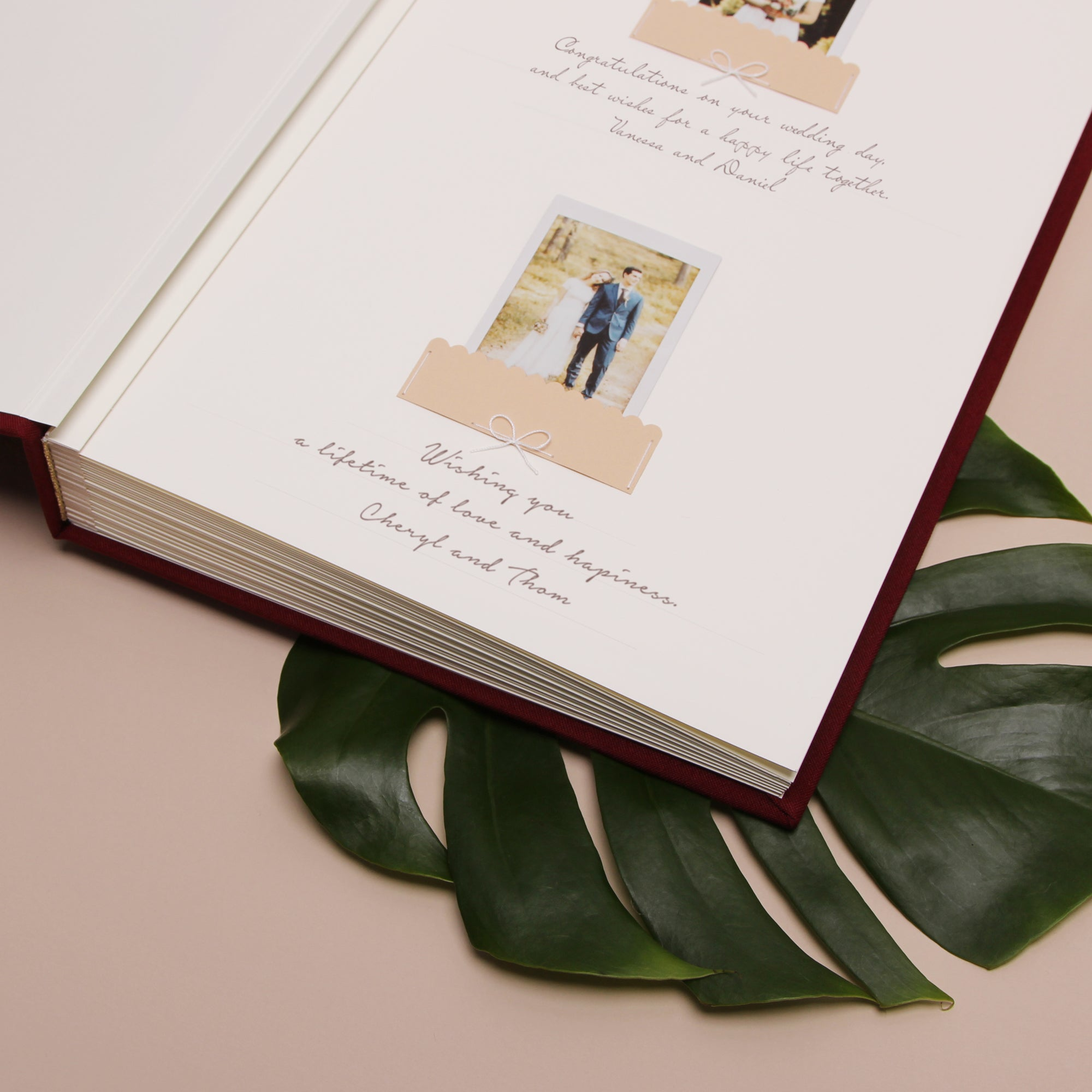 Classic Marsala Wedding Guest Book With Gold Lettering, Instax picture album, Birthday Album - by Liumy - Liumy