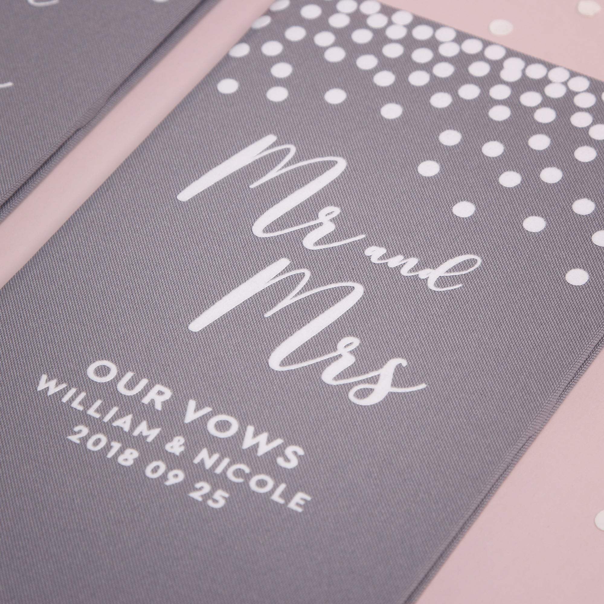 Personalized Wedding Vow Books White Velour Gray Dots Vows Bride and Groom Ceremony
