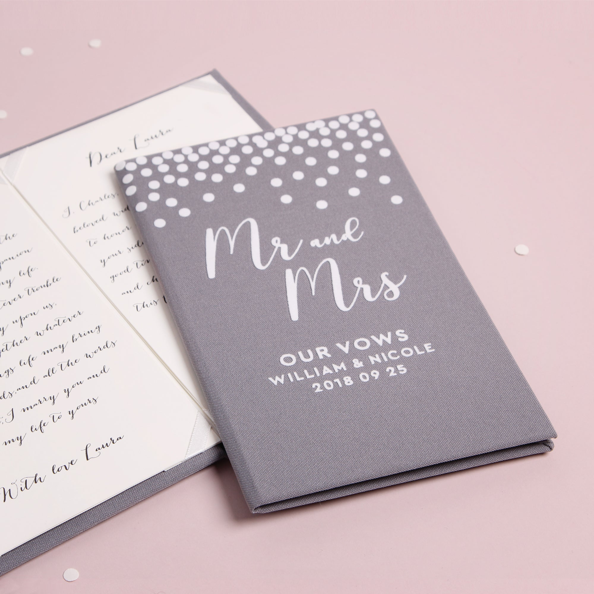 Personalized Wedding Vow Books White Velour Gray Dots Vows Bride and Groom Ceremony - Liumy