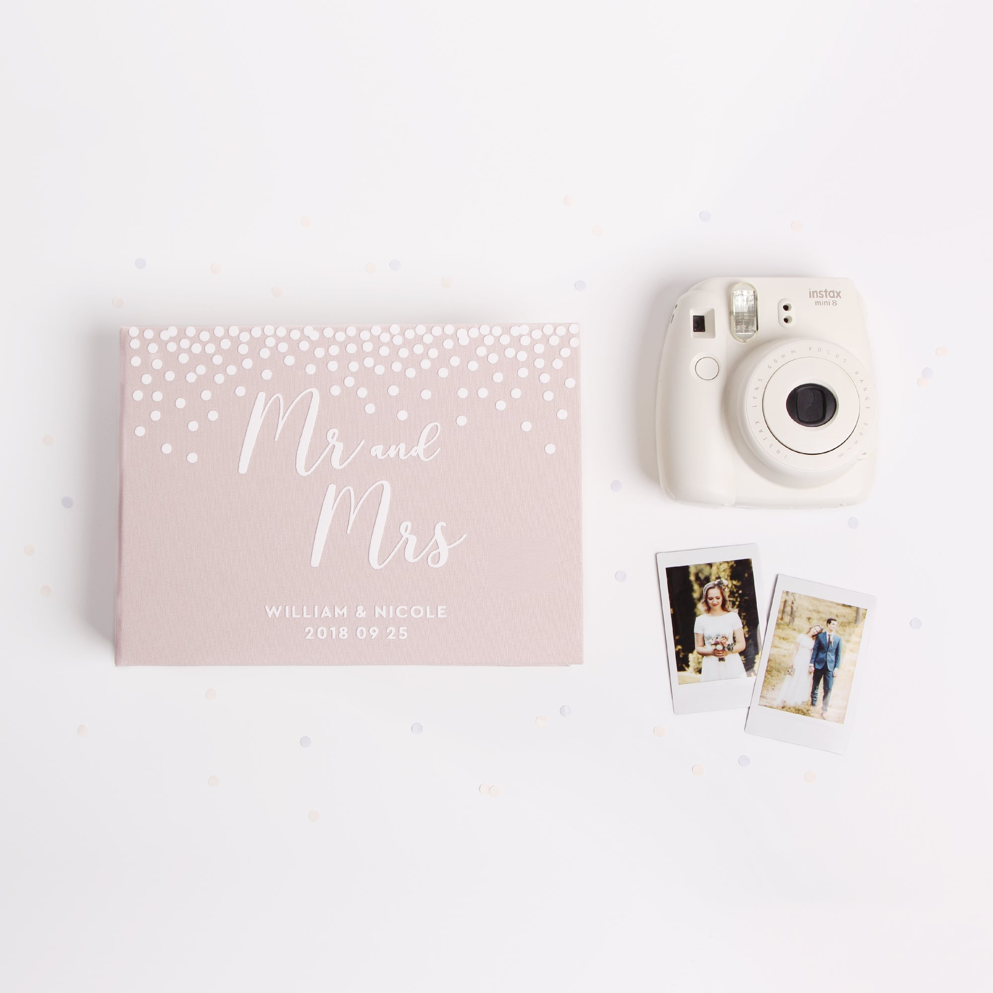 Photo Guest book Wedding Album Cream Dots with White Lettering, Instax picture album OneStep Guest book Wedding book - by Liumy - Liumy