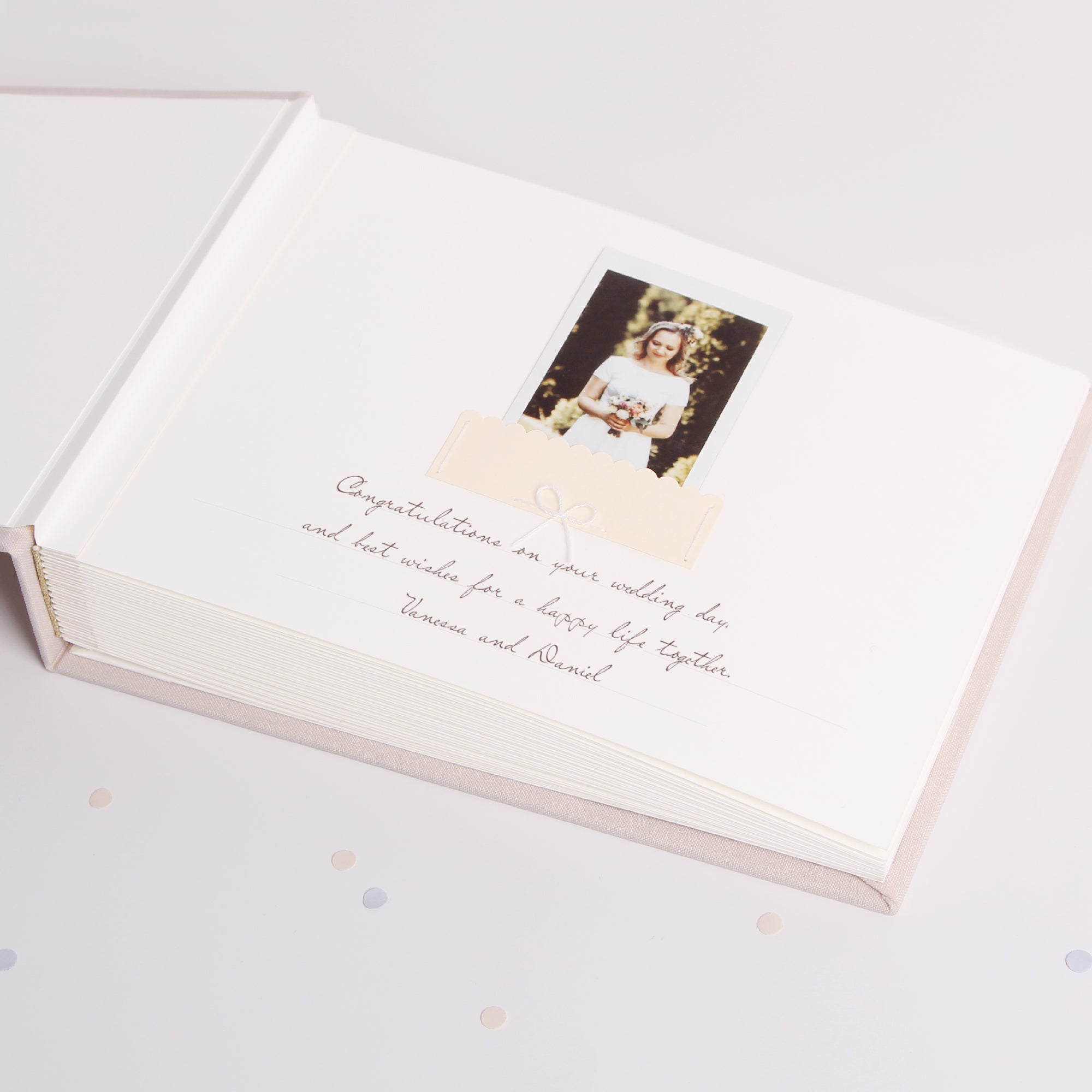 Photo Guest book Wedding Album Cream Dots with White velour Lettering, Instax picture album Guest book - by Liumy - Liumy