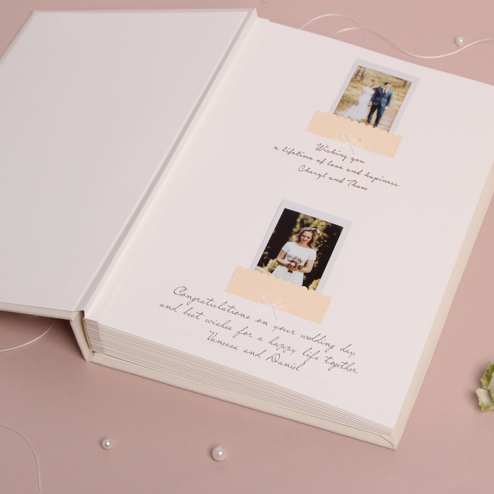 Ivory Instax Photo Guestbook White Lettering Caligraphy, Personalised Wedding Album, Wedding book - by Liumy - Liumy