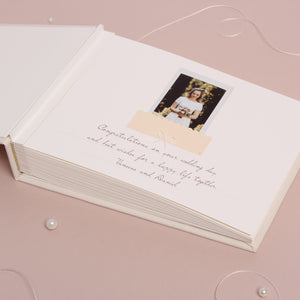 Ivory Instax Photo Guestbook White velour Lettering Calligraphy, Personalised Wedding Album, Wedding book - by Liumy - Liumy