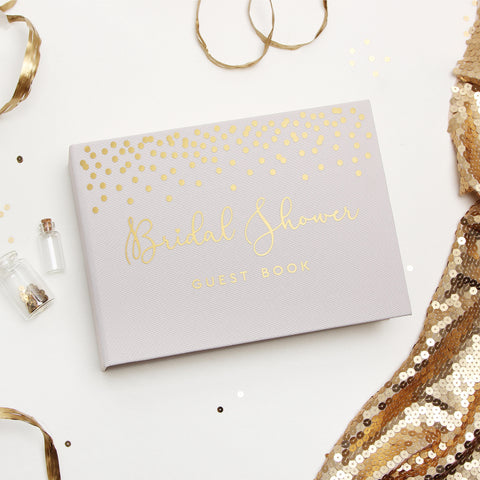 Bridal Shower Guest Book - Cream Album with Gold Foil Lettering - Liumy