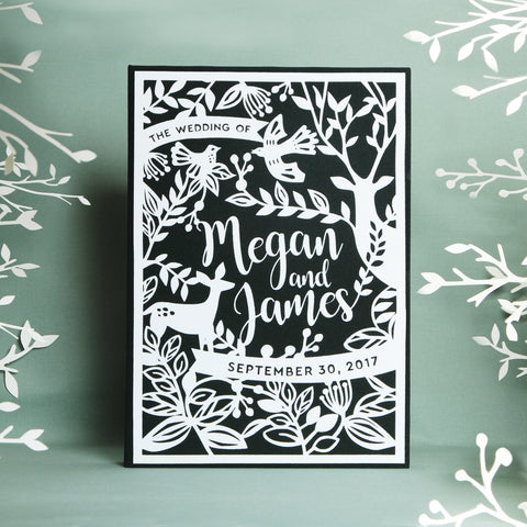 Exclusive Embossed White Velour Forest Green Cover Instant Wedding Guestbook by Liumy - Liumy