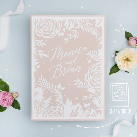 Exclusive Photo Guestbook Cream Embossed White Velour Cover Instant Wedding Album by Liumy - Liumy