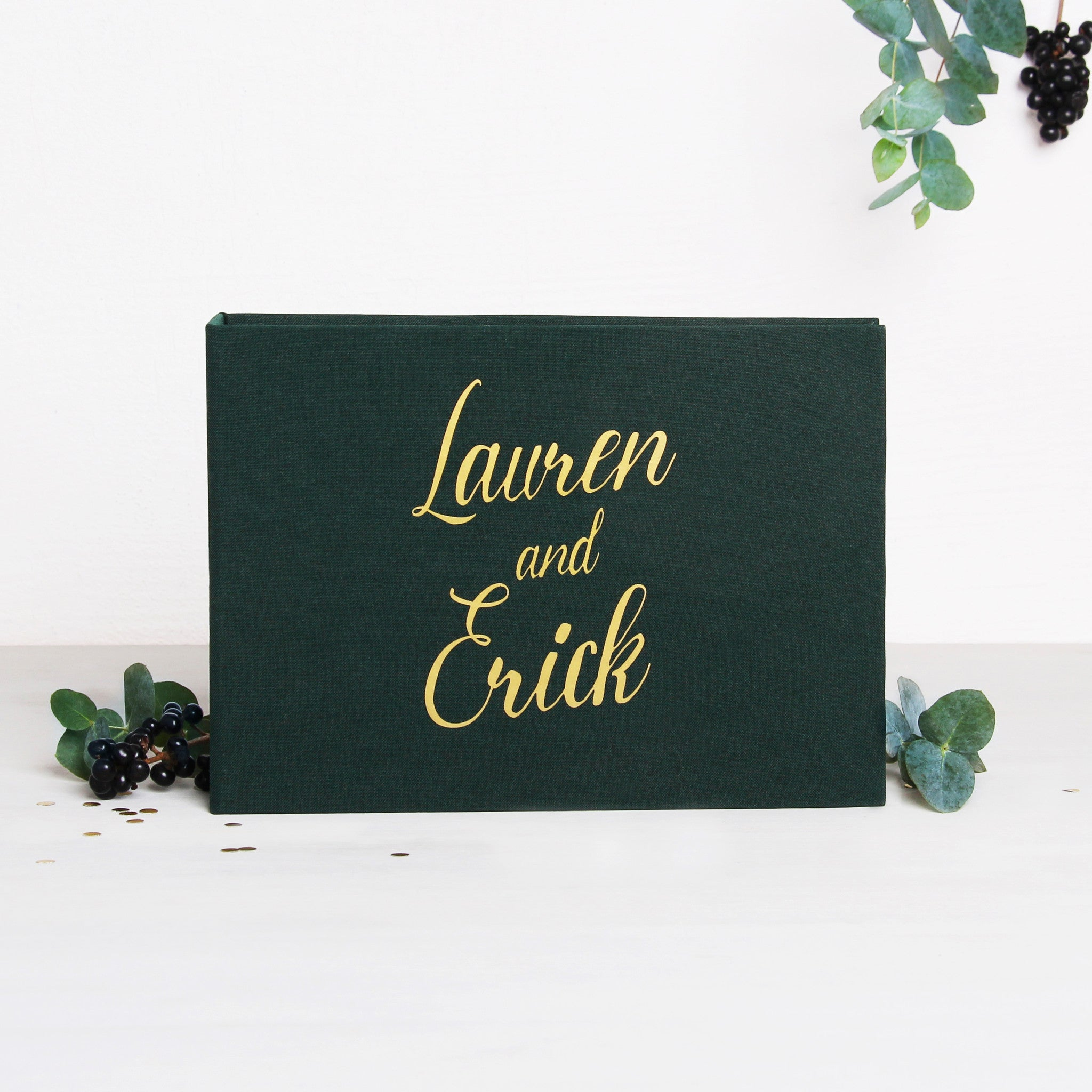 Instant Wedding Guest Book Album Forest Green with Gold Lettering - Liumy