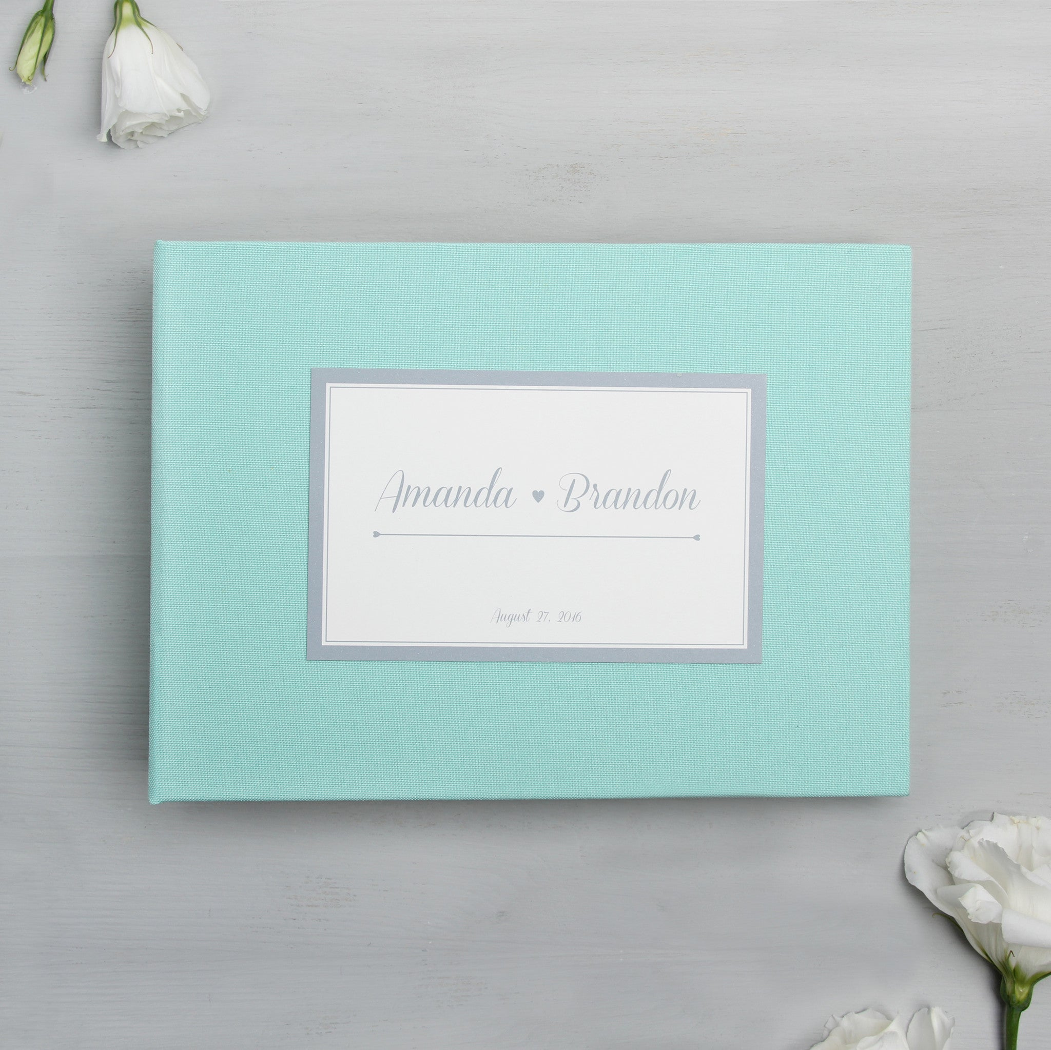 Guest Book Sign in Book Wedding Instant Photo Album Mint with Paper Label - Liumy