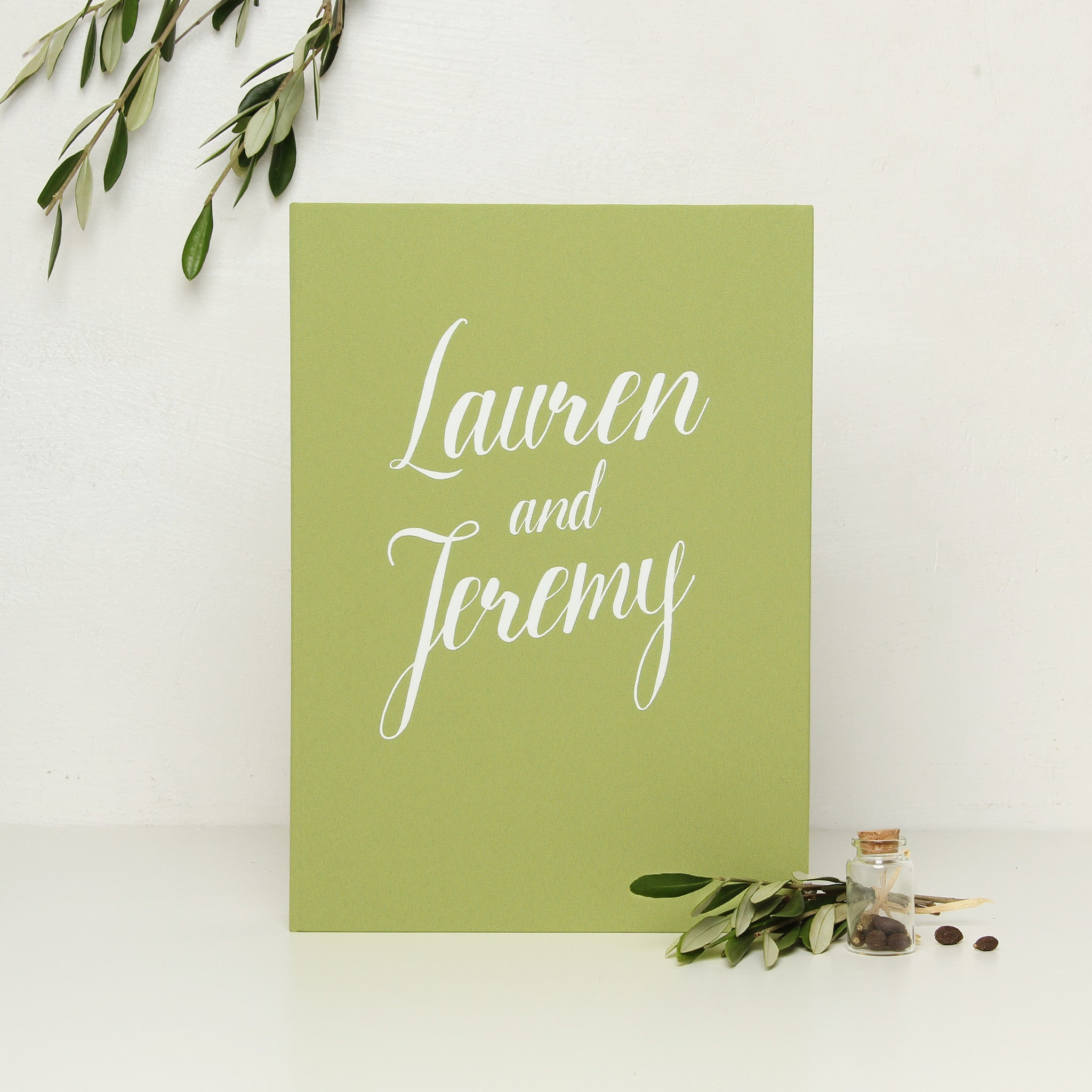 Instant Wedding Guest Book Album Olive with White Lettering by Liumy - Liumy