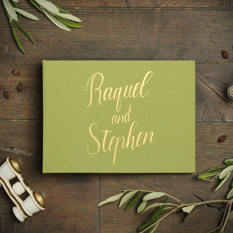Instant Wedding Guest Book Album Olive with Gold Lettering - Liumy