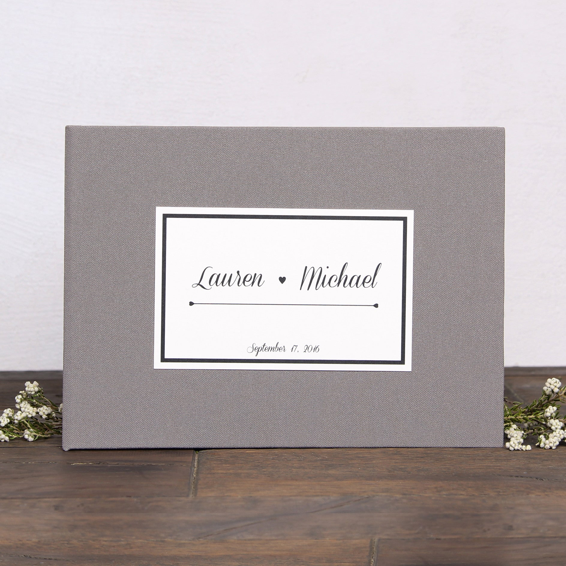 Wedding GuestBook Wedding Keepsake Bridal Shower Sign in Book Instant Album Gray with Paper Label by Liumy - Liumy