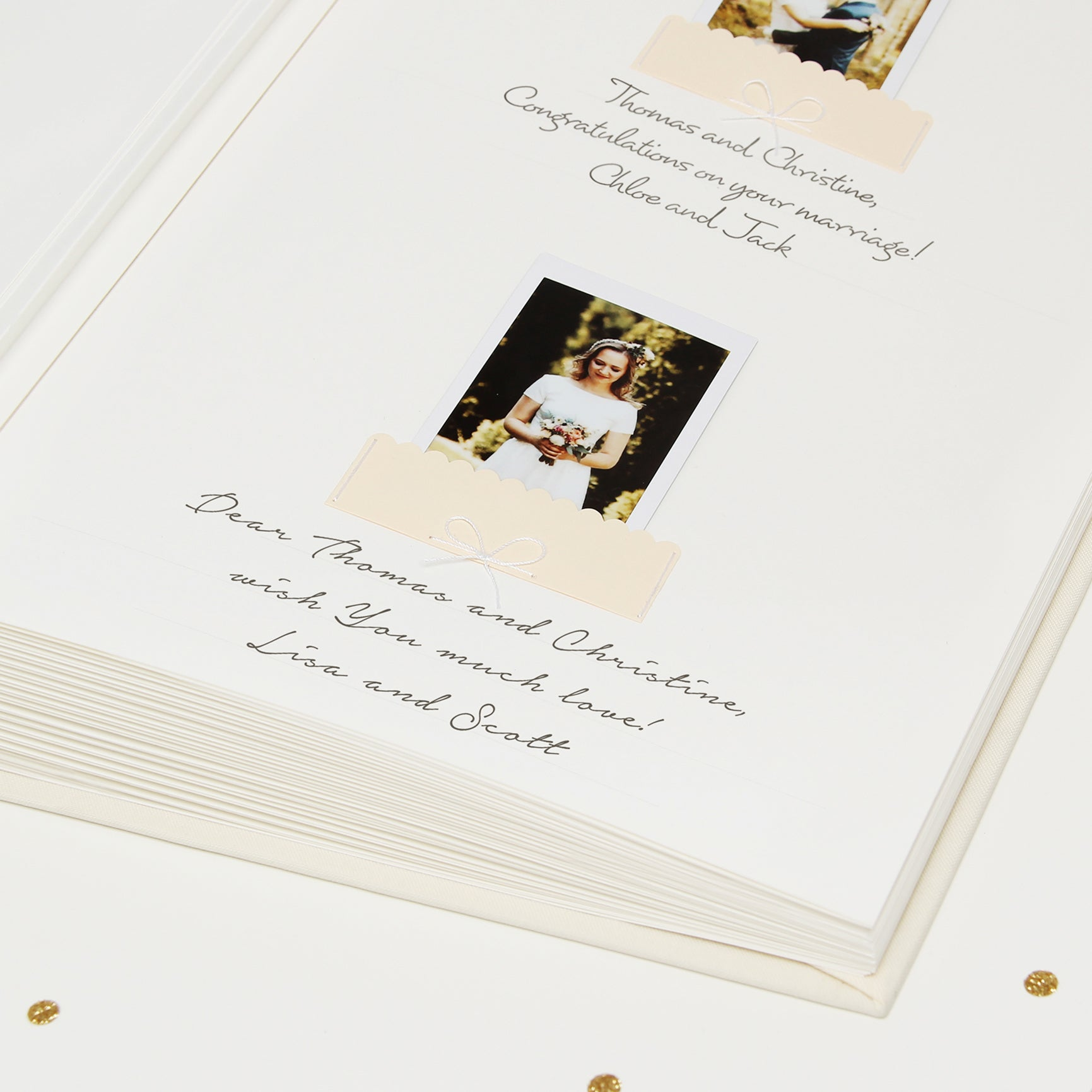 Ivory Instax Photo Guestbook White Lettering Date, Personalised Wedding Album, Wedding book - by Liumy - Liumy