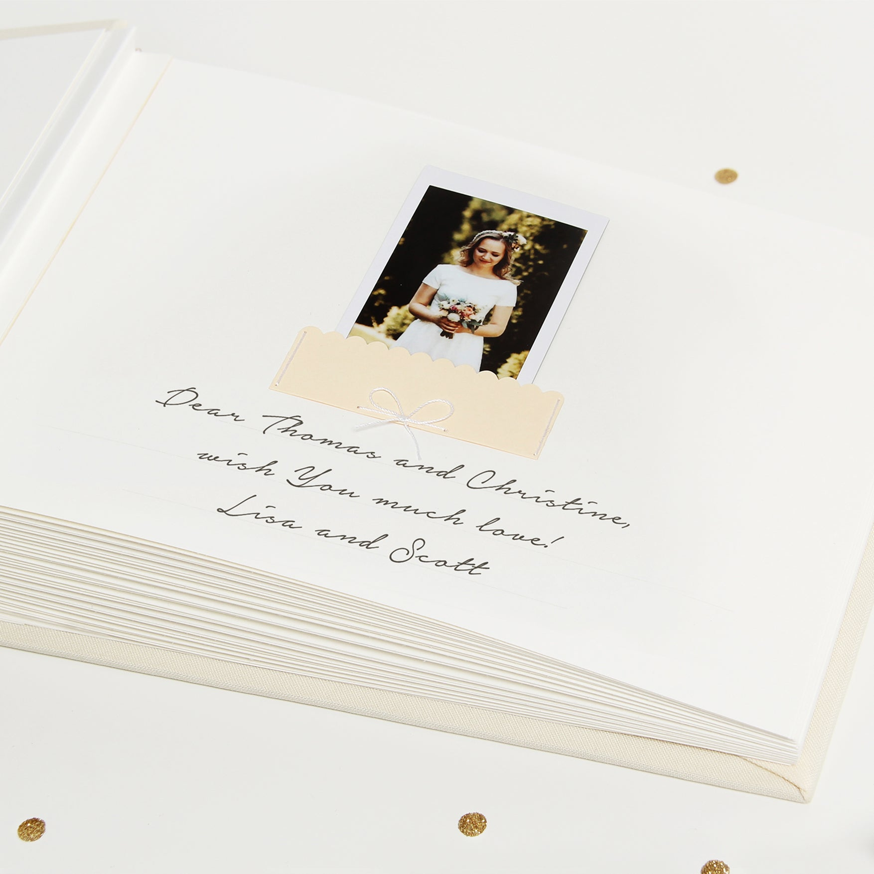 Guest Book Sign in Book Instant Album Ivory with Gold Glitter Lettering by Liumy - Liumy