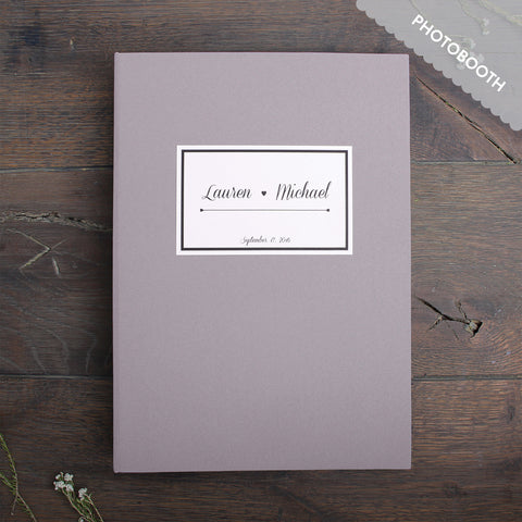 Photo Booth Wedding Guest Book Album Gray with Paper Label