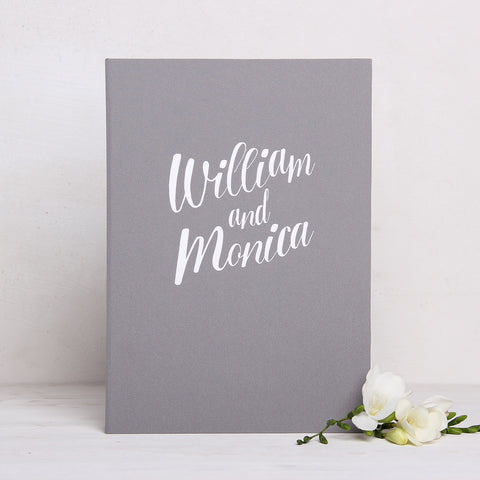 Wedding Guest Book Birthday Album Instant Gray with White Lettering by Liumy - Liumy