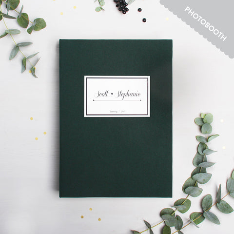 Photo Booth Wedding Guest Book Album Forest Green with Paper Label