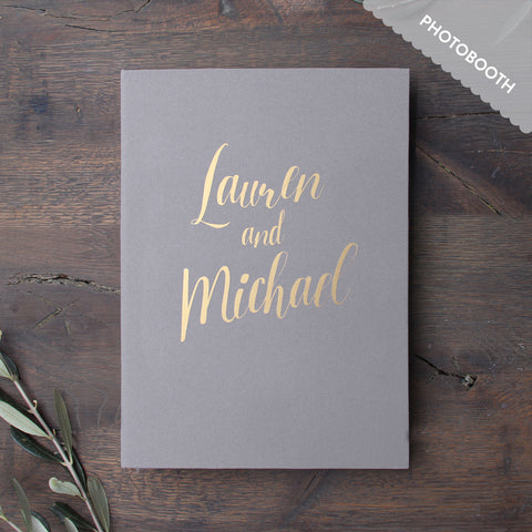 Photo Booth Wedding Guest Book Album Gray with Gold Lettering - Liumy