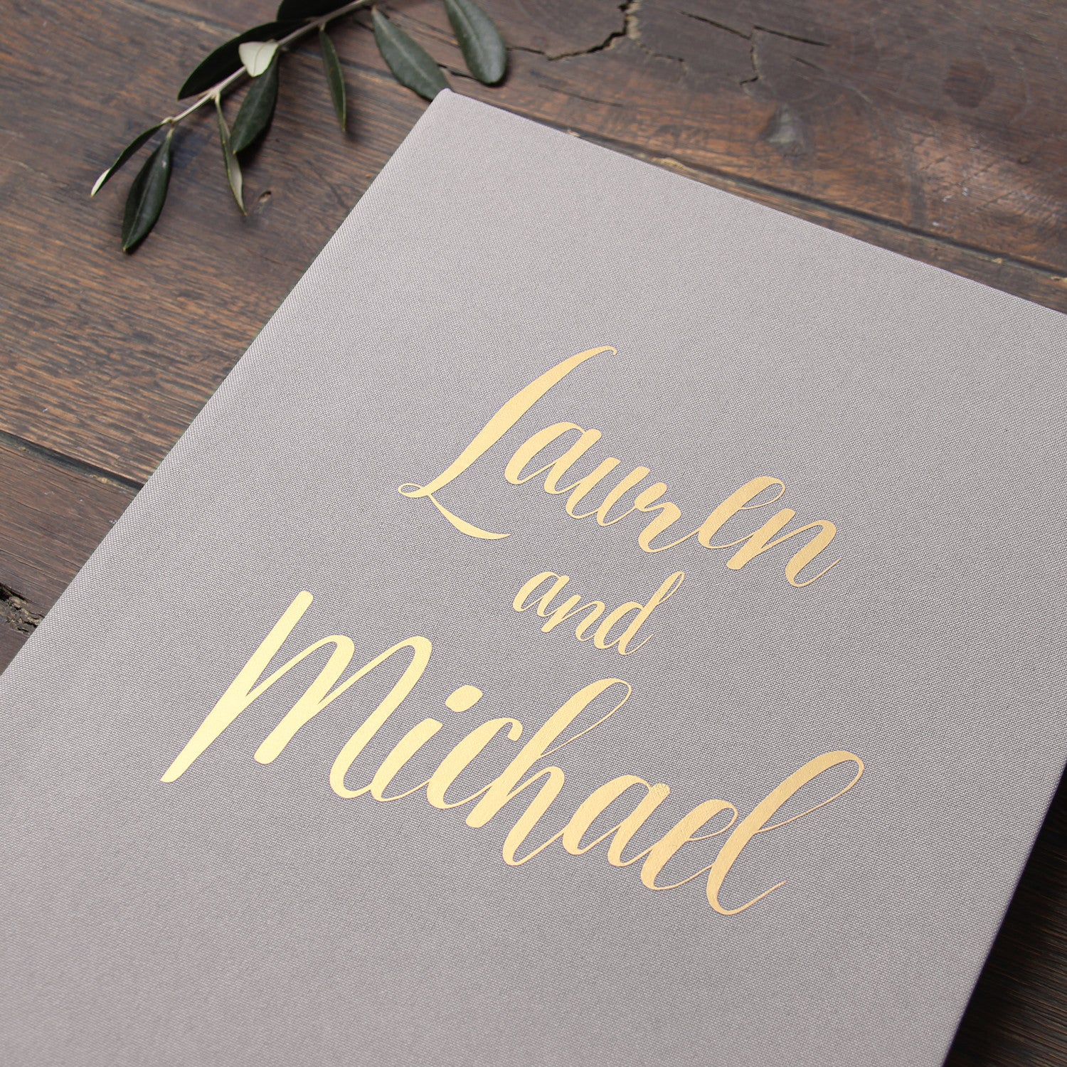 Photo Booth Wedding Guest Book Album Gray With Gold Lettering Liumy