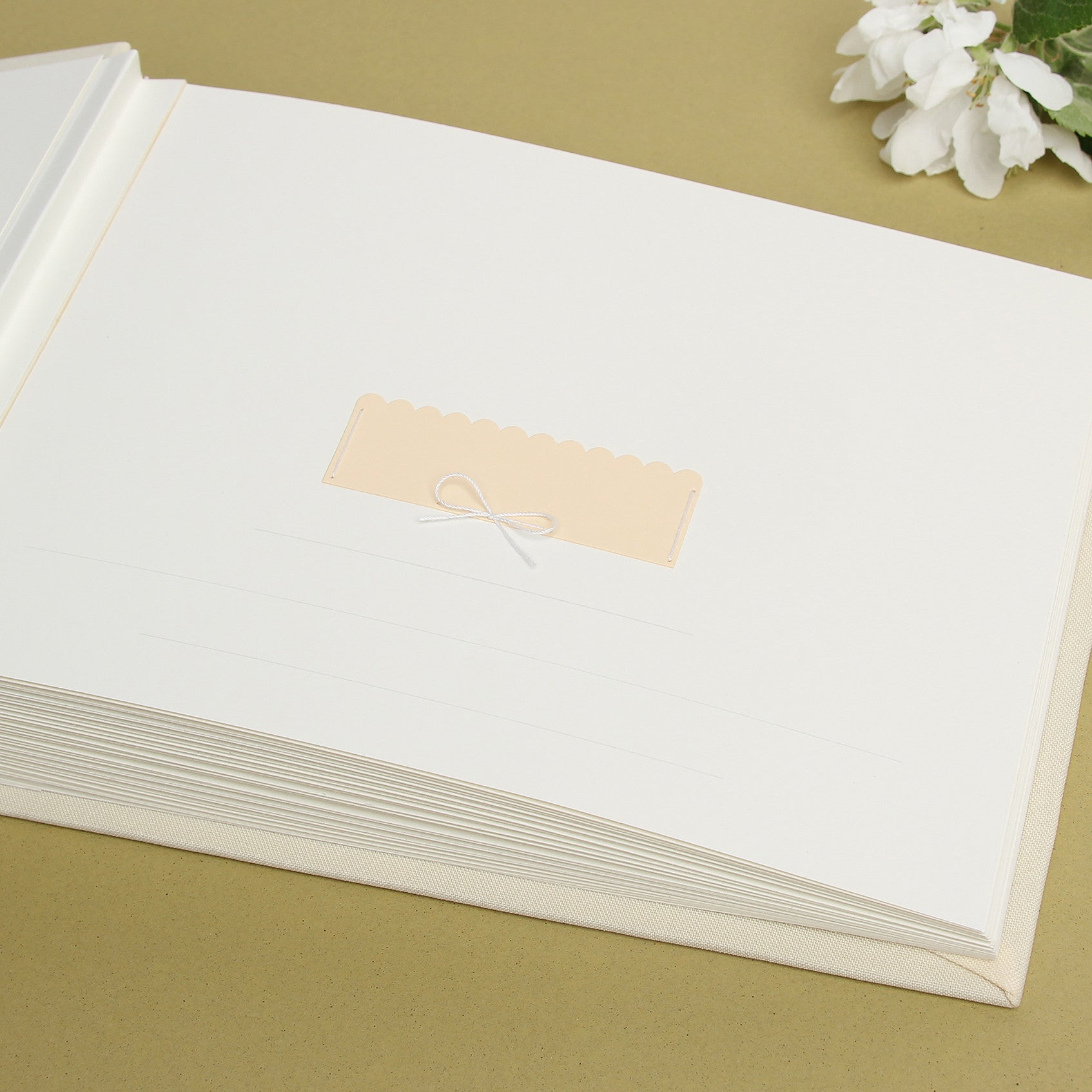 Instant Guest Book Sign in Book Album Ivory with Paper Label - Liumy