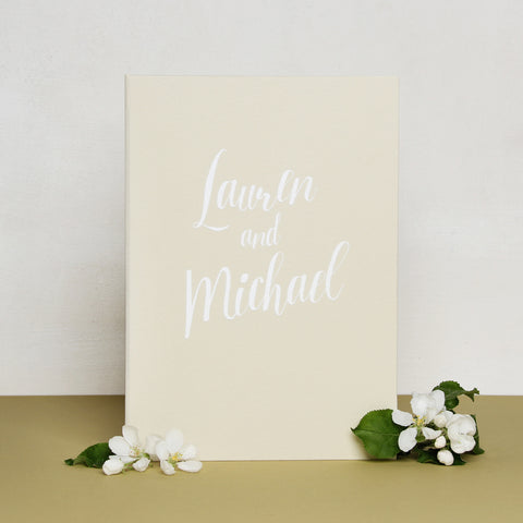 Guest Book Sign in Book Instant Album Ivory with White Lettering - Liumy