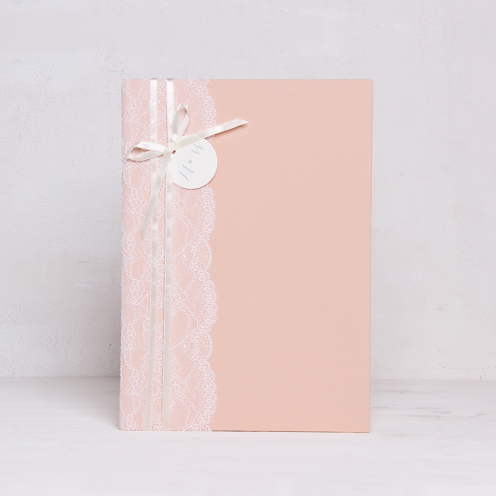 Instax Guest Book Wedding Album Instant Light Peach with Lace Names in First Page by Liumy - Liumy