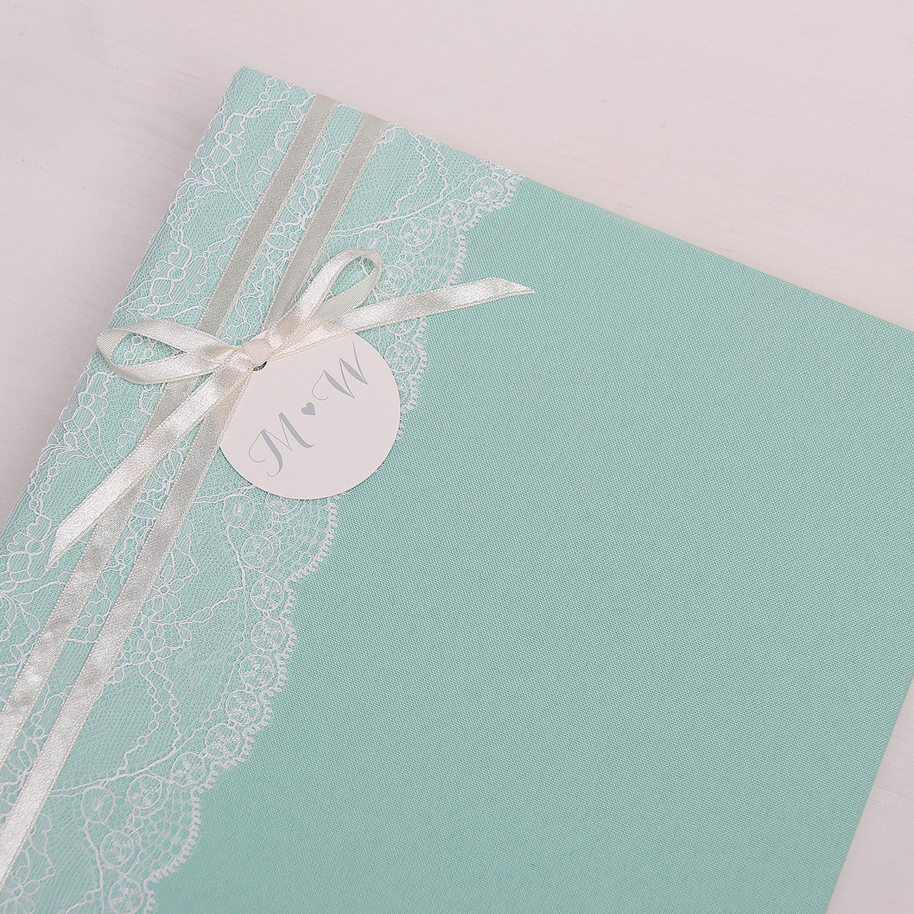 Instax Guest Book Wedding Album Instant Mint with Lace Names in First Page Lettering - Liumy