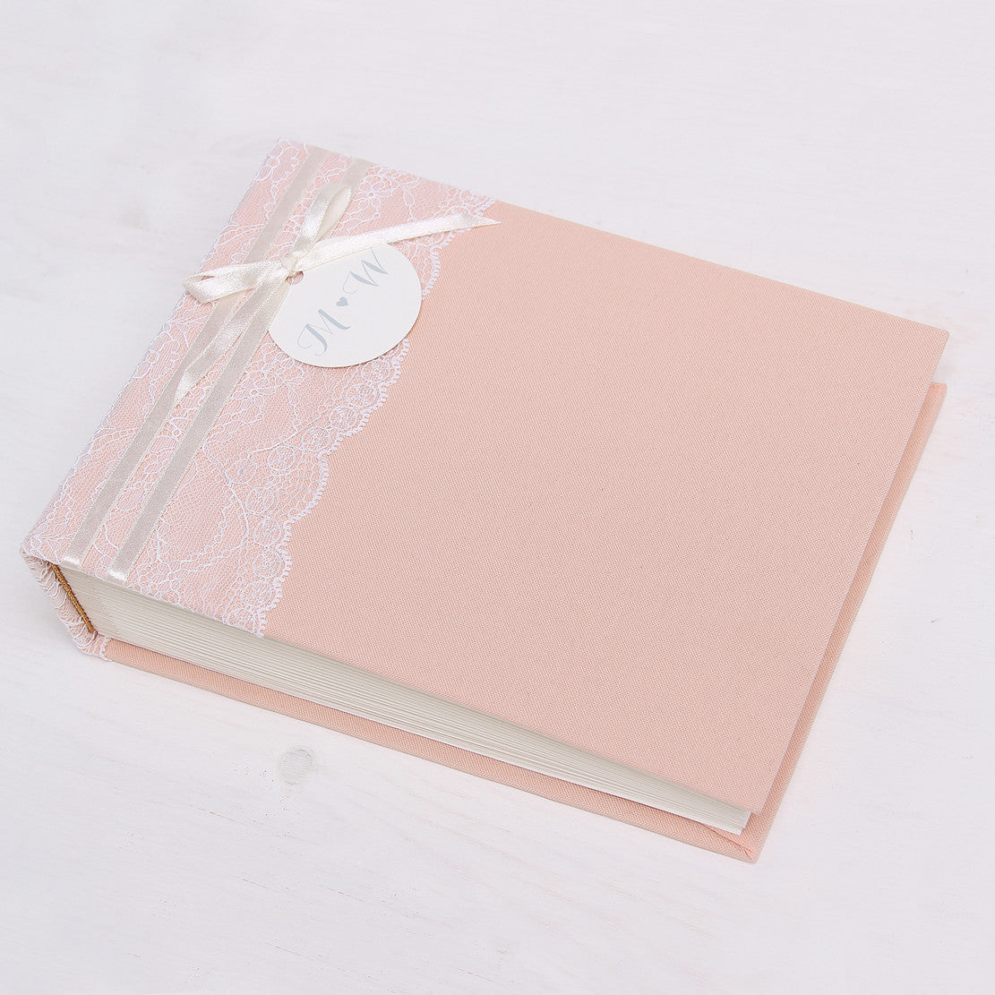 Instax Guest Book Wedding Album Instant Pink with Lace Names in First Page by Liumy - Liumy