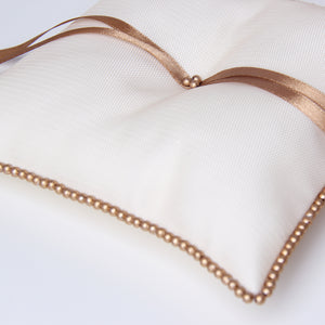 Wedding Ring Pillow Bronze Bands, Elegant Bearer Pillow - Liumy