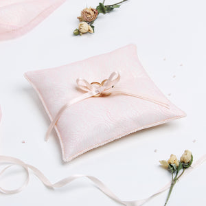 Wedding Ring Pillow Pink Bands - Liumy