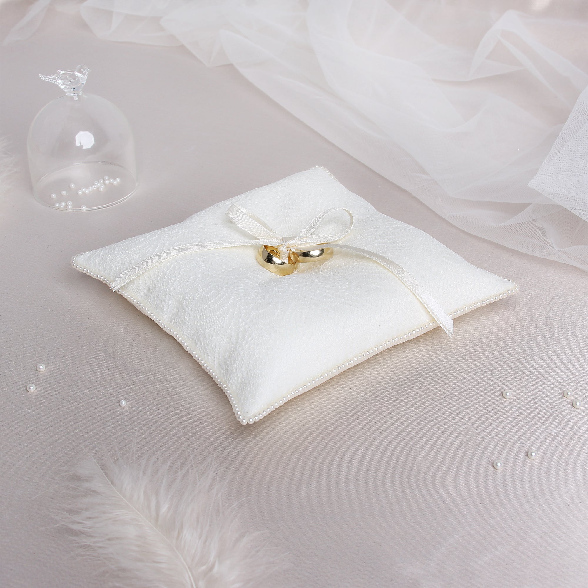 Wedding Ring Pillow Ivory Bands Liumy