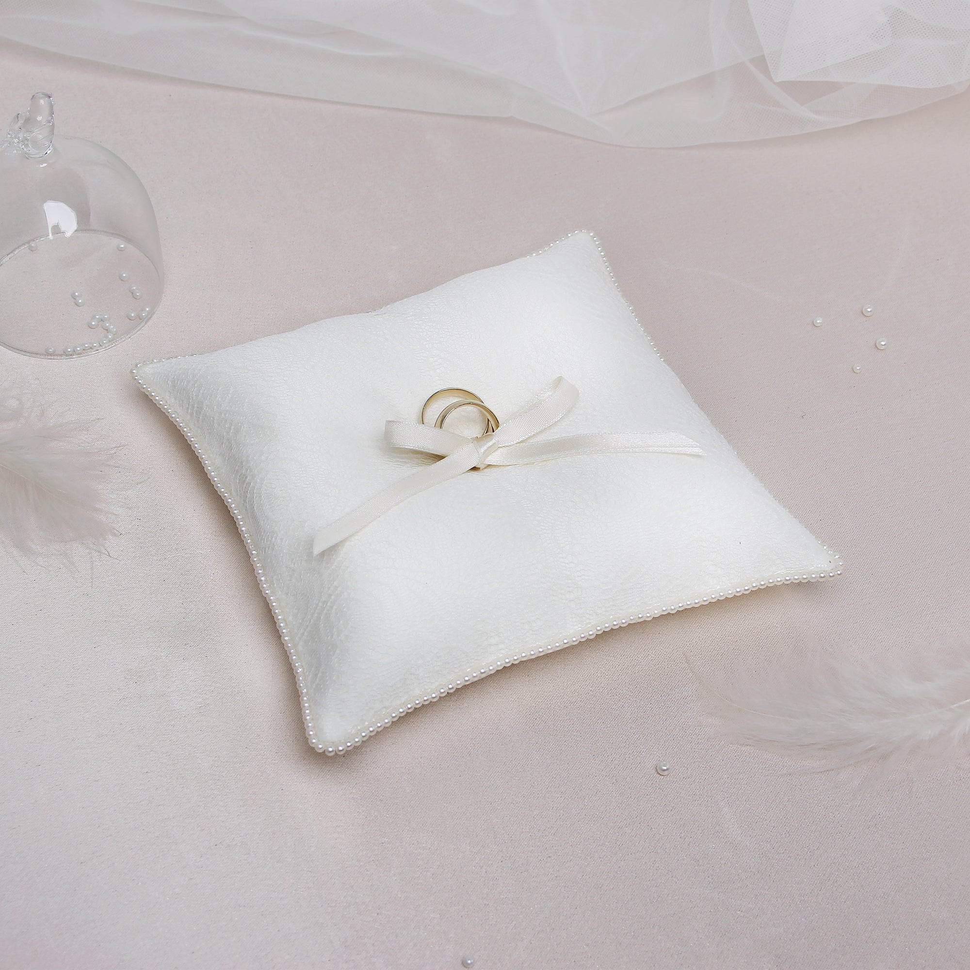 Wedding Ring Pillow Ivory Bands - Liumy