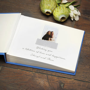 Instant Wedding Guest Book Album Royal Blue with White Lettering by Liumy - Liumy