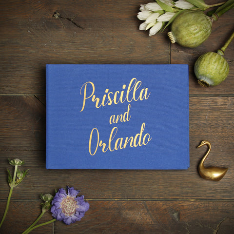 Instant Wedding Guest Book Album Royal Blue with Gold Lettering - Liumy