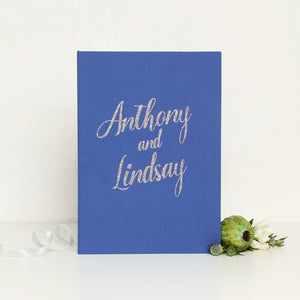 Polaroid Wedding Guest Book Album Royal Blue with Silver Glitter Lettering - Liumy