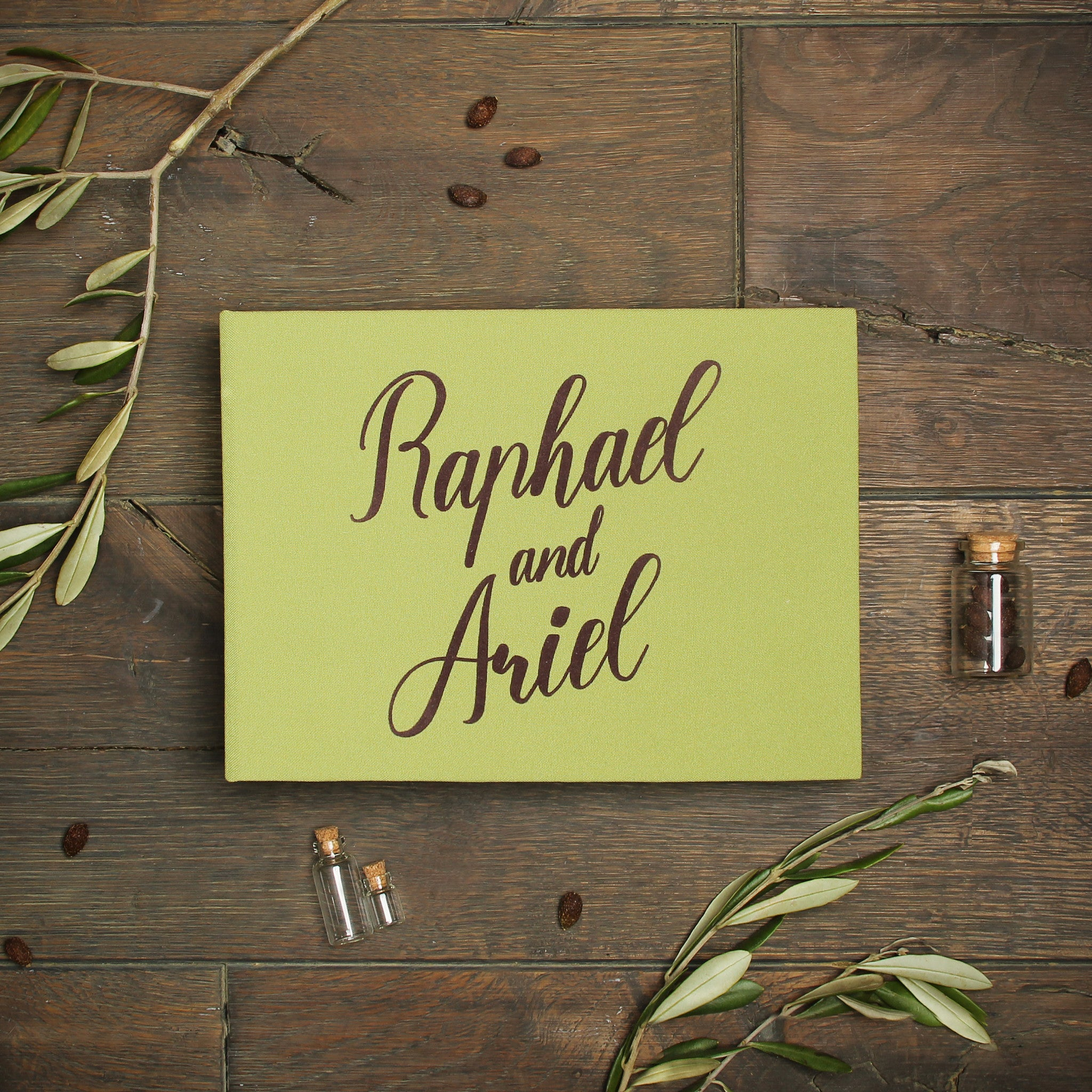 Pocket Guest Book: Instant Wedding Guest Book Album Olive With BrownLettering