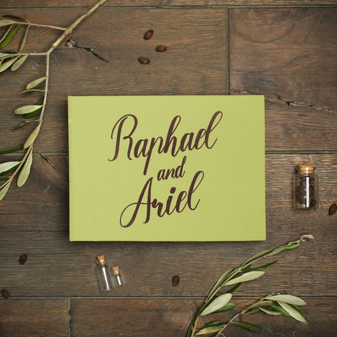 Instant Wedding Guest Book Album Olive with BrownLettering - Liumy
