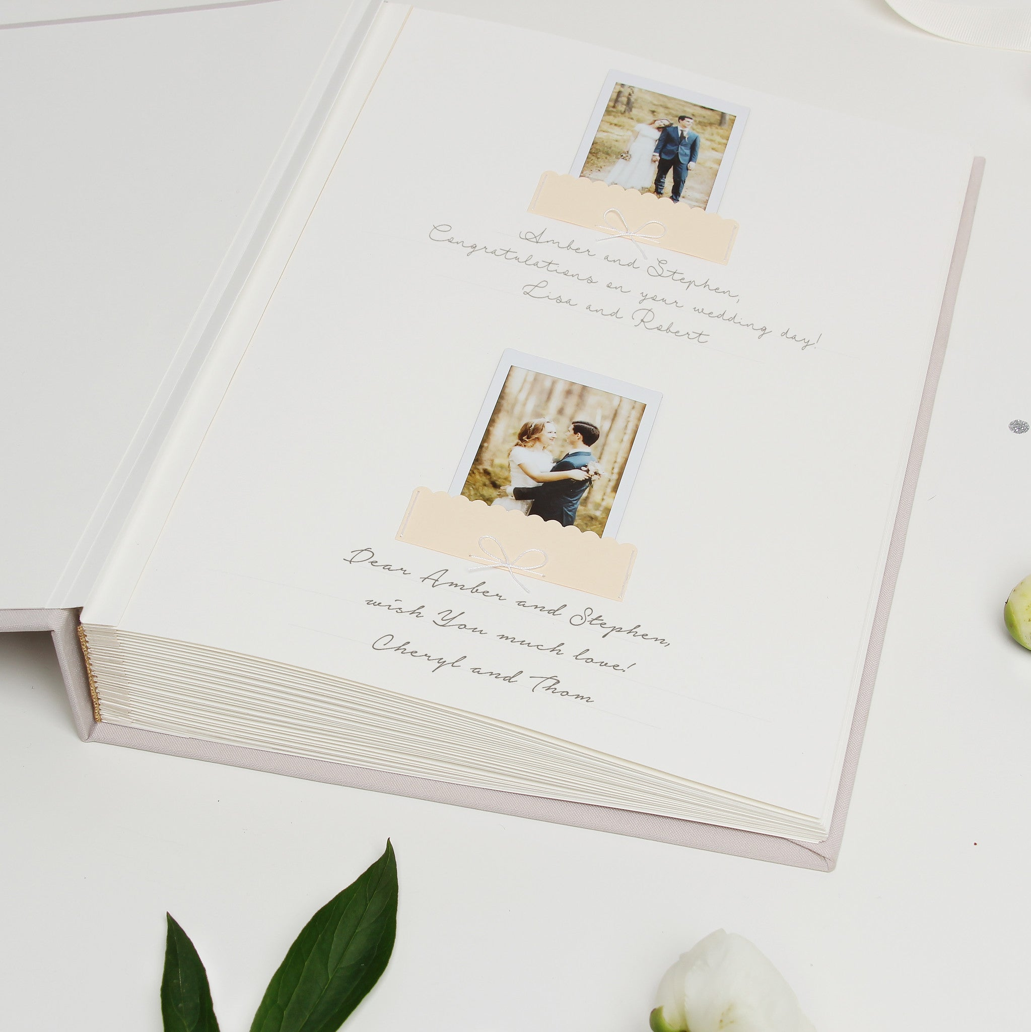 Guest Book Sign in Book Instant Album Cream with Silver Glitter Lettering, Birthday Album by Liumy - Liumy