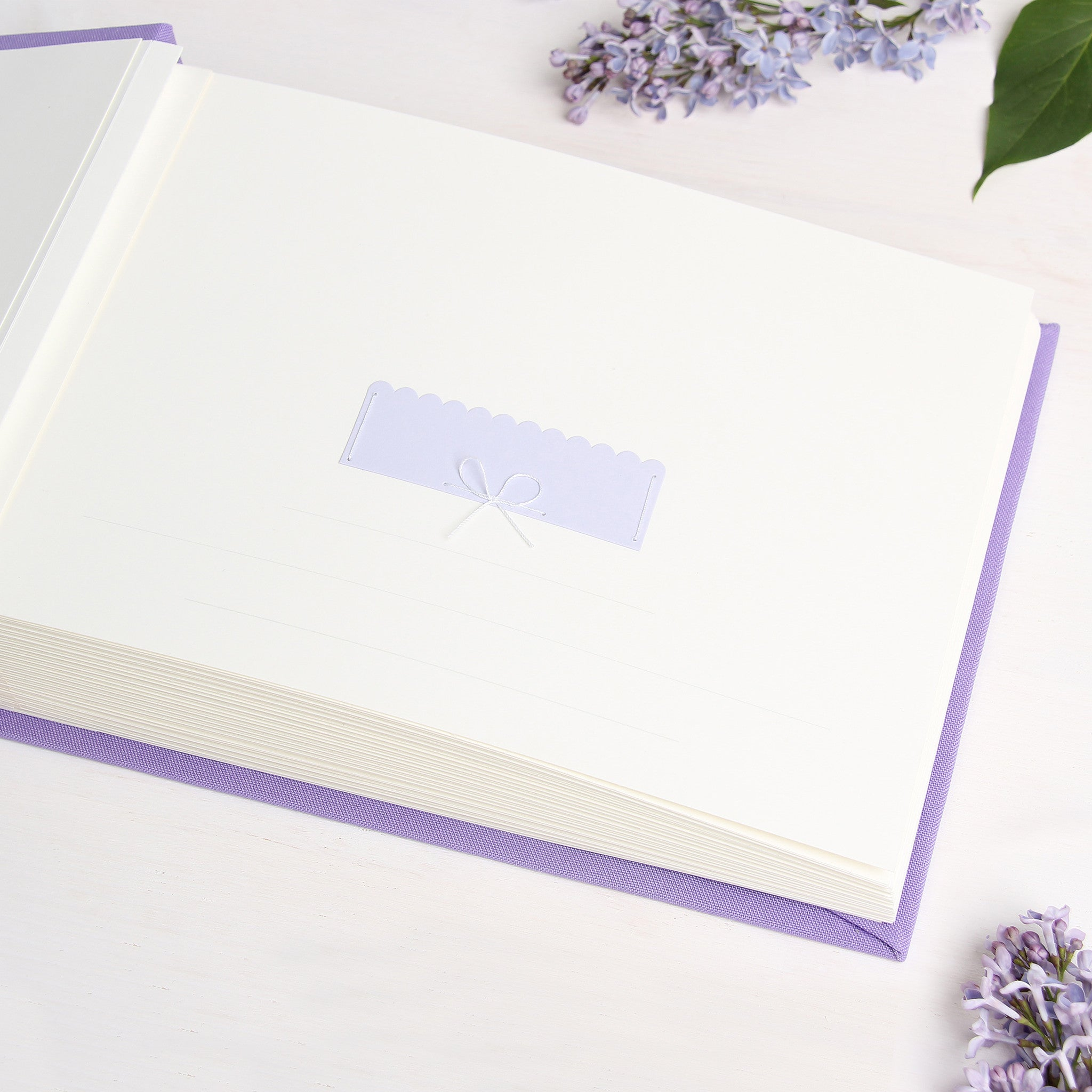 Instant Wedding Guest Book Album Lilac with White Lettering - Liumy