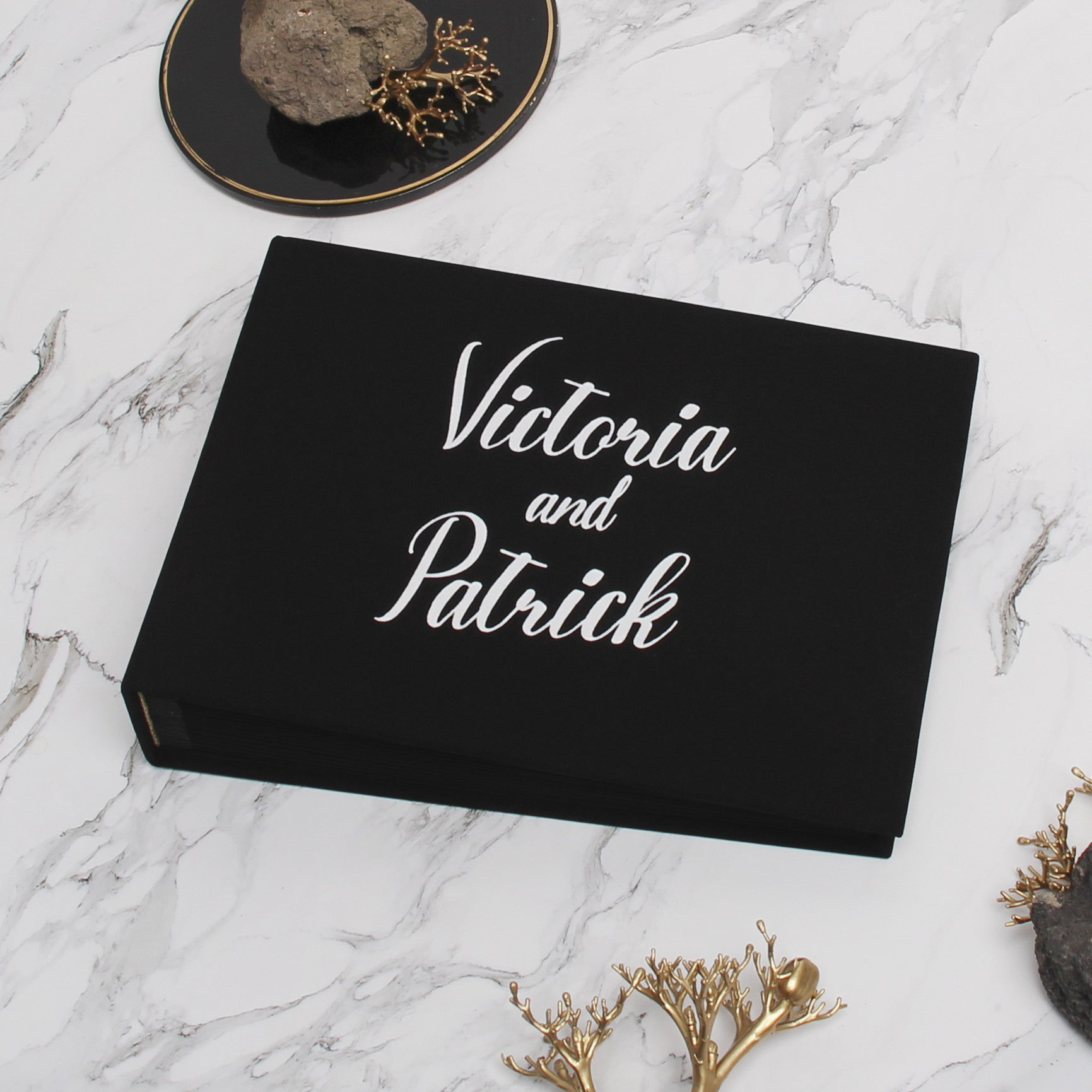 Guest Book Sign in Book Instant Album Black with White Lettering, Guestbook Ideas - Liumy