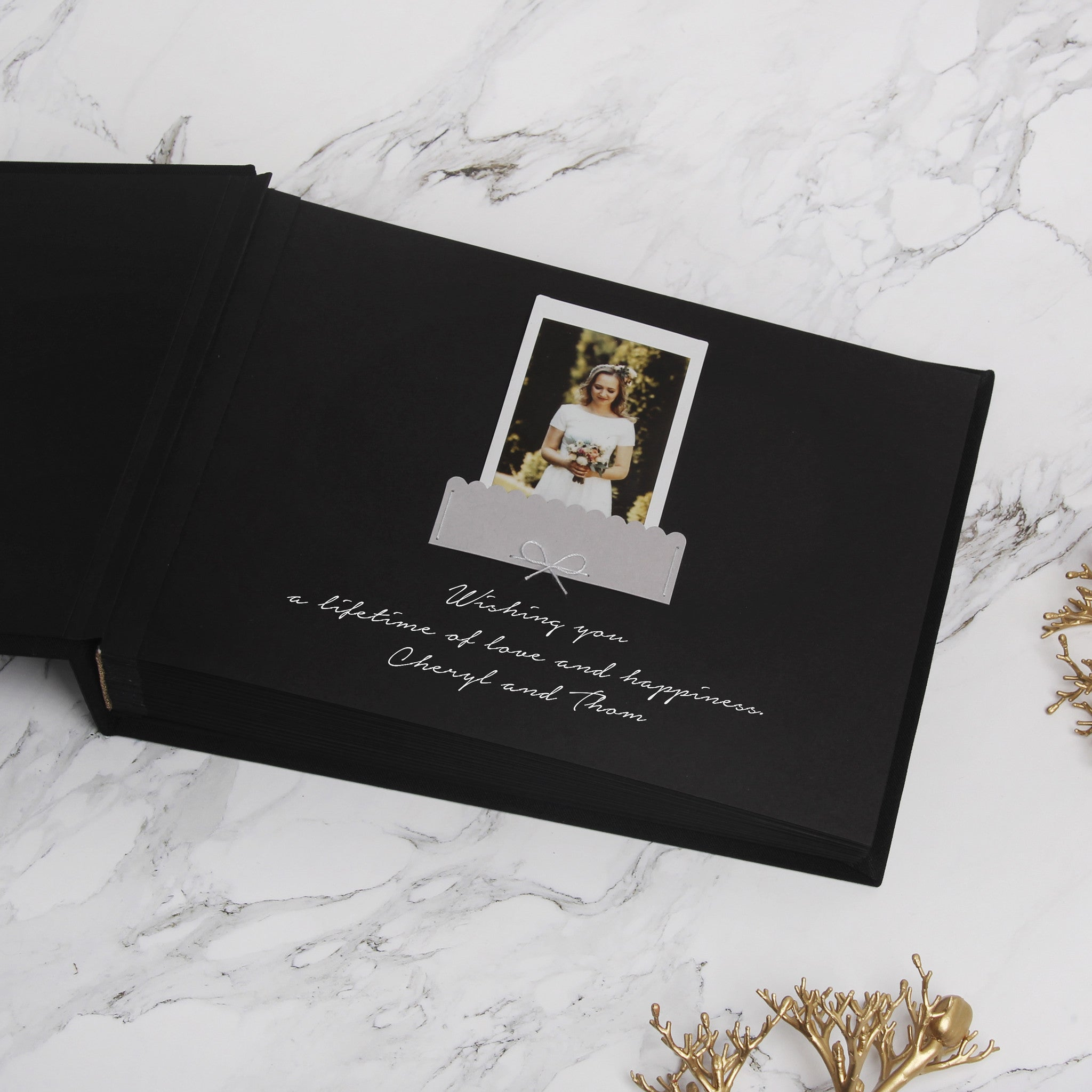 Guest Book Sign in Book Wedding Instant Photo Album Black with Paper Label Black Pages by Liumy - Liumy