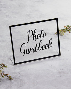 Black Acrylic Wedding Sign Guest book Glass Sign - Transperant Photo Guestbook Sign - by Liumy - Liumy